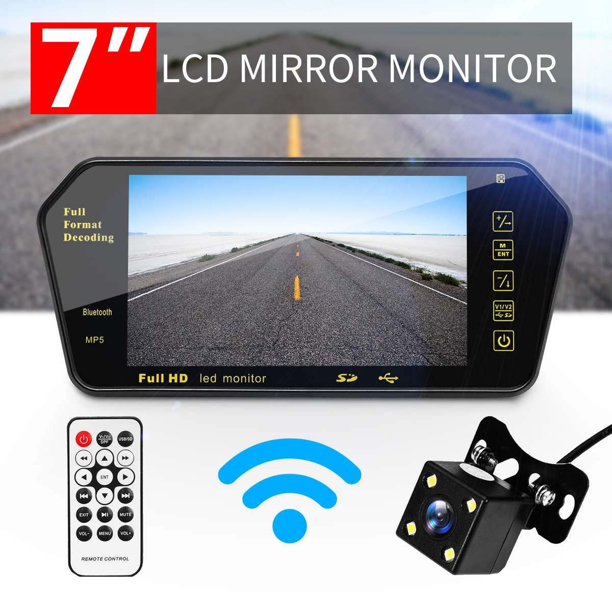 7 pulgadas TFT LCD espejo retrovisor del coche Monitor + visión nocturna cámara de coche de marcha atrás sistema de embalaje bluetooth para monitores retrovisores de coche
