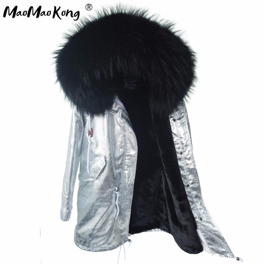 MAO MAO KONG das mulheres casacos de inverno Grande parque natural real gola de pele de guaxinim mulheres casaco de inverno