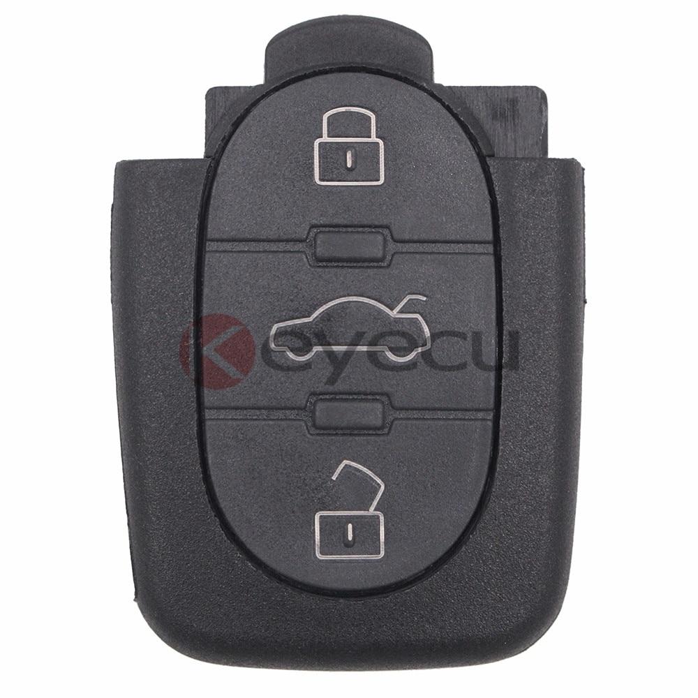 KEYECUReplacement llave con transmisor de mando A distancia Fob botón 3 433MHZ 4D0 837 231 4D0837231A para A3 A4 A6 modelos viejos
