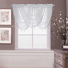 ISHOWTIENDA Window Valance Lace Hem Bedroom living room Curtain Luxury White Diamond Sheer Embroidered Waterfall  #35
