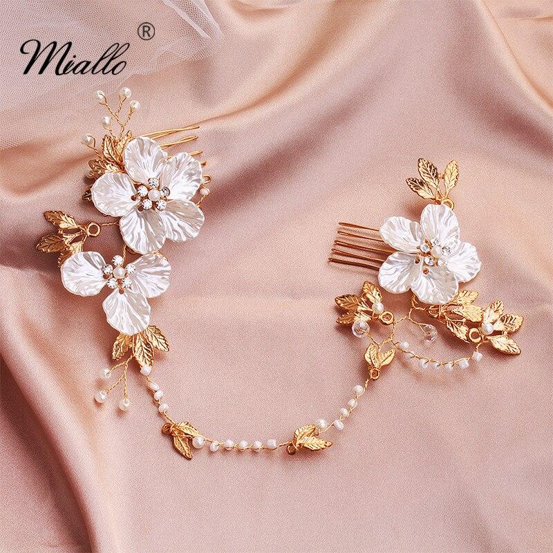 Miallo moda boda largo peine de pelo de flores doradas Clips de pelo de novia horquillas tocado de pelo joyería diadema