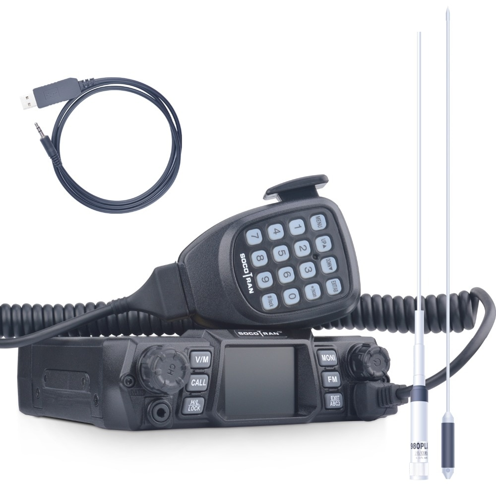 SOCOTRAN 200CH Dual Band 75W/55W Car Radio VHF 136-174MHz UHF 400-480MHz 2 Way Mobile radio with Programming Cable and Antenna
