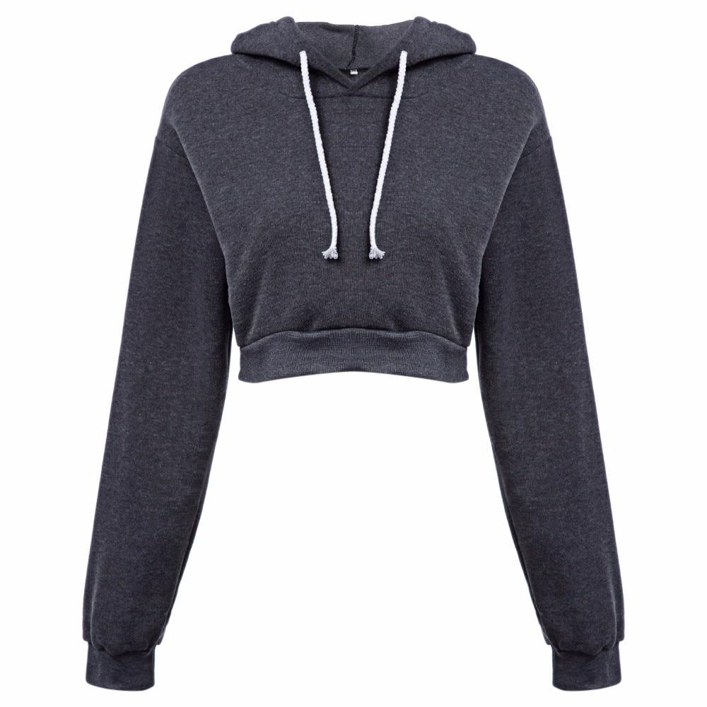 AZULINA Dorywczo Szary Czarny Bluzy Swetry Kobiet Bluza Zima Sexy Szary Krótki Crop Przycięte Dres Z Kapturem dla Kobiet 11