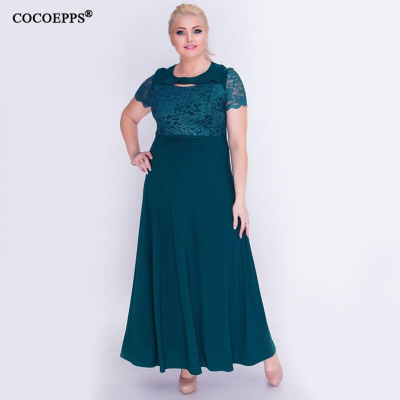 5XL 6XL 2019 nuevos vestidos de verano de retazos de encaje para mujeres de talla grande con costuras elegante vestido maxi de fiesta femenino vestidos de talla grande