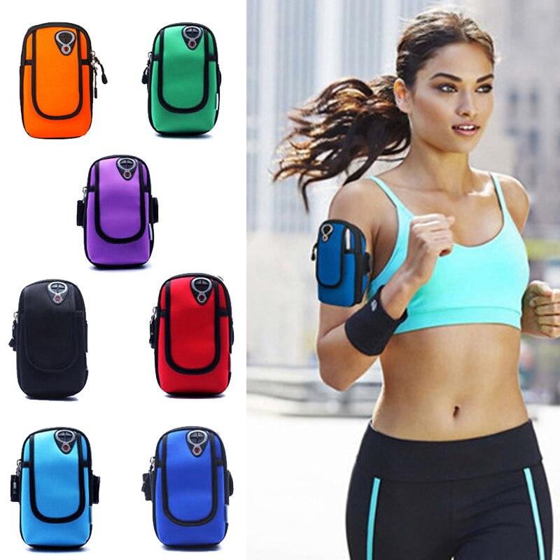5 pulgadas deportes Jogging gimnasio brazalete Running bolsa brazo muñequera soporte de funda de teléfono móvil bolsa impermeable al aire libre bolsa mano nylon