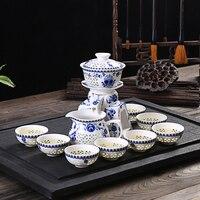 11PCS/Lot Chinese Style Automatic Openwork Ceramic Porcelain Teacup Fair Cup Base Gaiwan Art Kit Office Anti-hot Kung Fu Tea Set