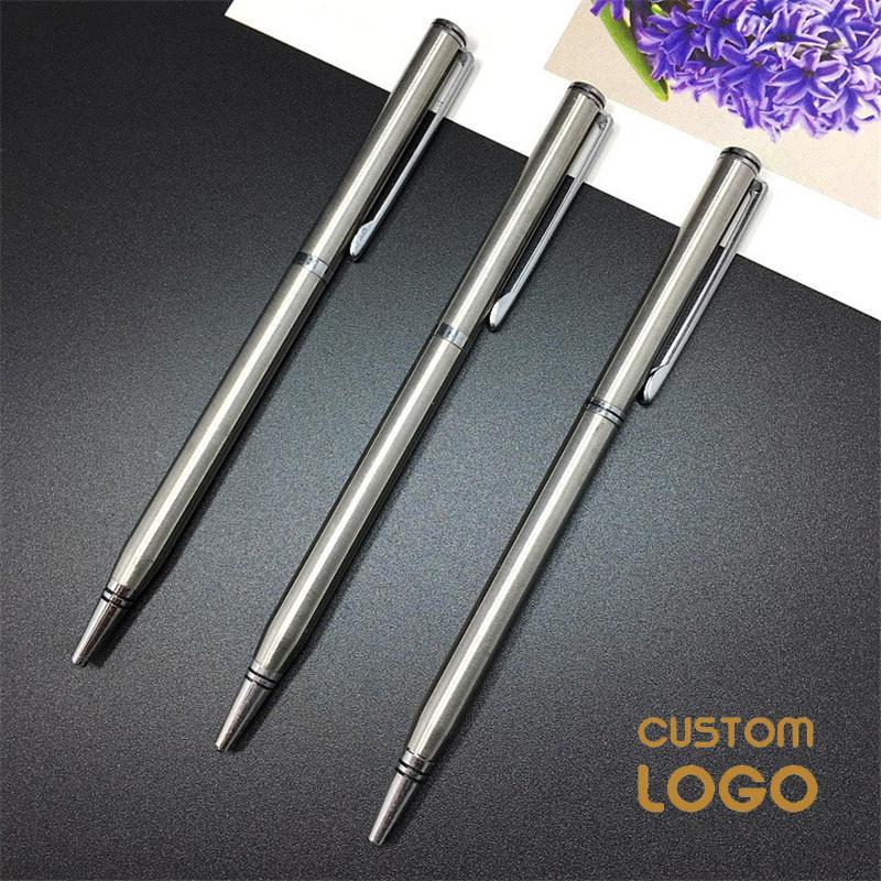 Металлическая шариковая ручка, рекламная шариковая ручка 0,7 мм, черная вращающаяся маленькая портативная масляная ручка, ручка для рекламы,...