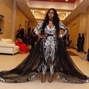 Unique Black Jumpsuit Evening Dresses with Detachable Train Sliver Sequined Celebrity Gown Sweep Train Plus Size Prom Dress 2019