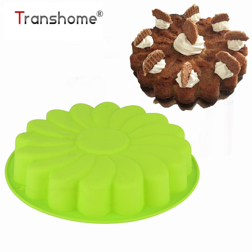 Molde de pastel de silicona Transhome 3D de girasol forma de Fondant pastel de magdalenas moldes de silicona decoración de pasteles de cocina utensilios para hornear repostería