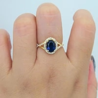 1 00ct carat 75mm lab created blue sapphire engagement ring with white moissanite stone halo ring 14k yellow gold