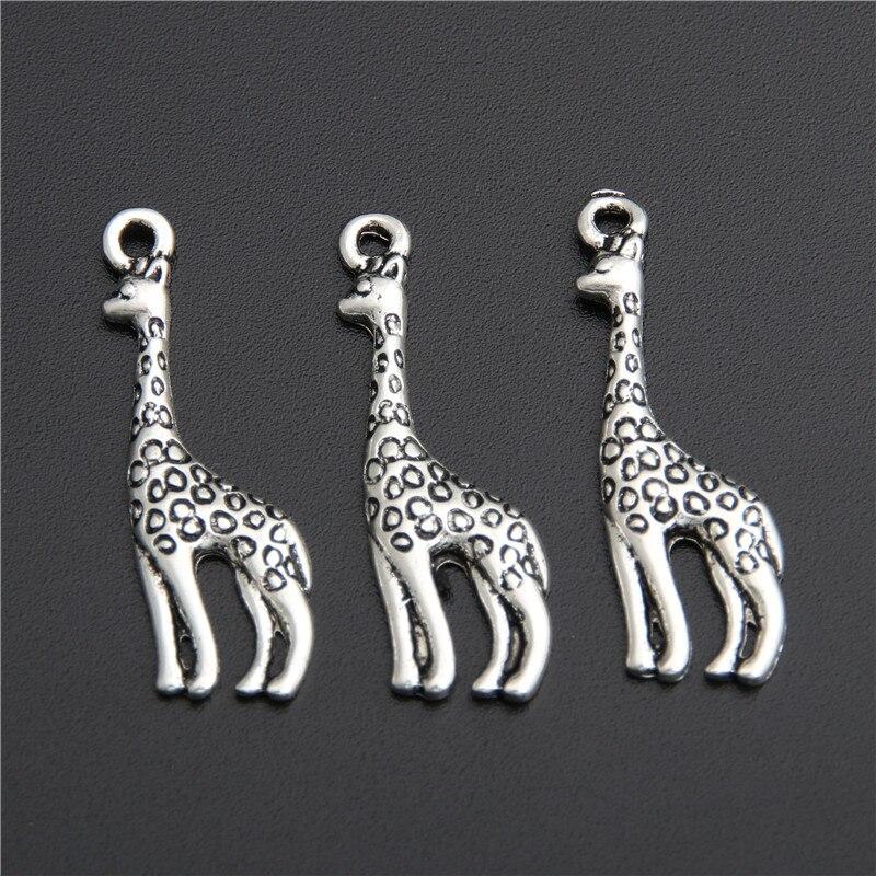 20 pçs cor de prata encantos girafa pingente apto pulseiras colar diy metal jóias fazendo a2761