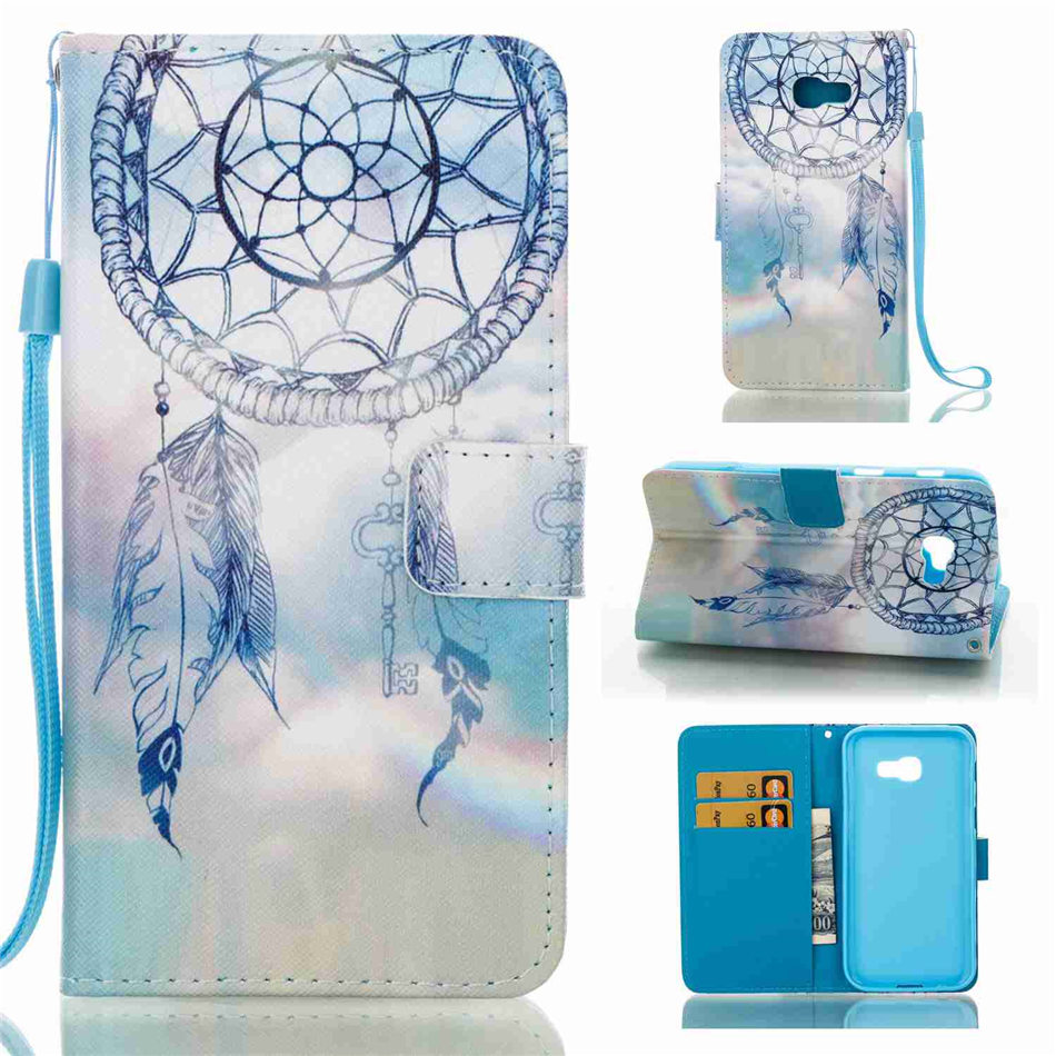 For Samsung Galaxy J3 J5 J7 Prime A3 A5 2017 SM J330 J530 J730 A520 A320 Case Lotus Koala Tower Chimes Flip Wallet Cover E03Z