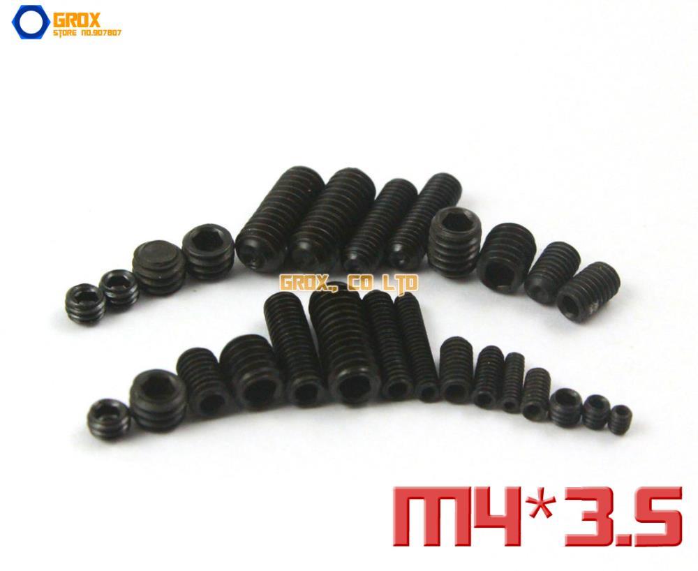 200 Pieces M4 x 3.5mm 12.9 Grade Alloy Steel Grub Screws Cup Point Hex Socket Set Screw