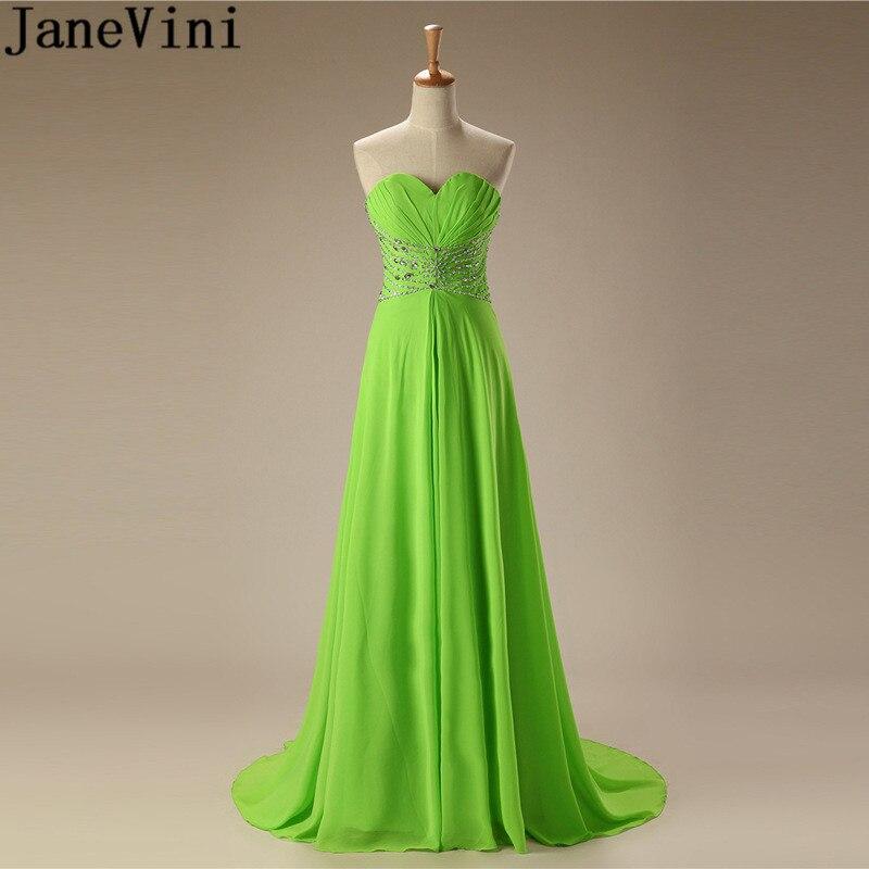 JaneVini-vestidos de dama de honor largos con cuentas verdes para mujer, vestido...