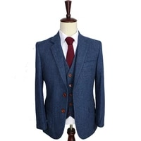 wool blue herringbone retro gentleman style custom made mens suits tailor suit blazer suits for men 3 piece jacketpantsvest