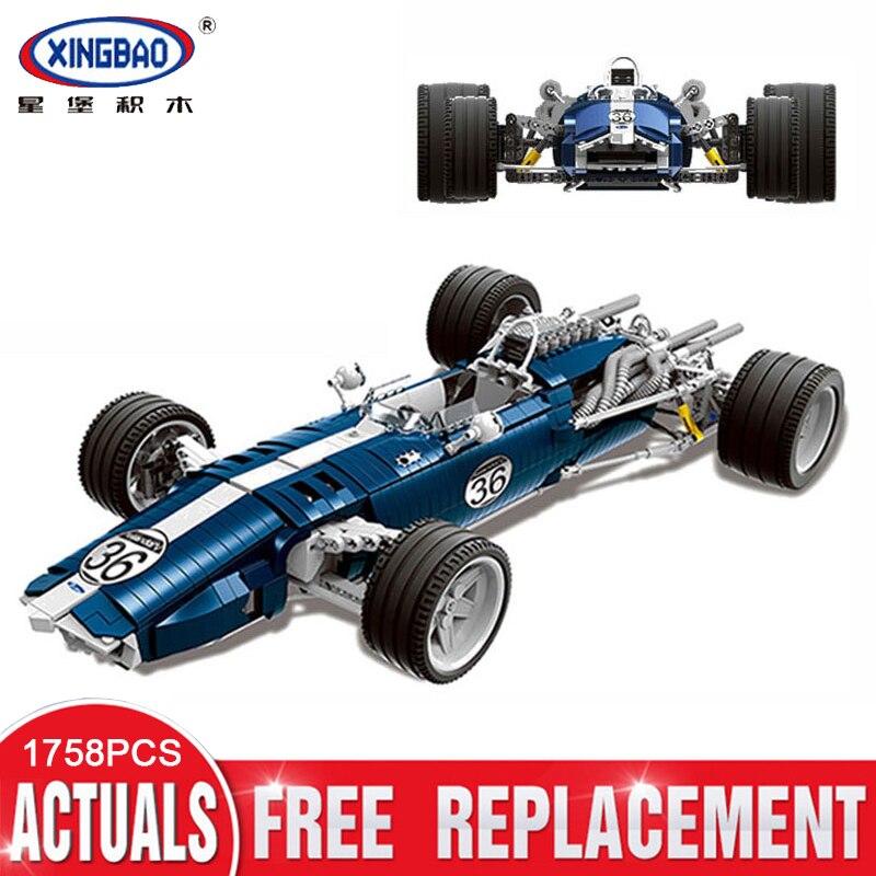 XINGBAO 03022 1758 Uds conjunto de coches de carreras genuinos azules bloques de construcción juguetes educativos divertidos regalos de modelismo para niños