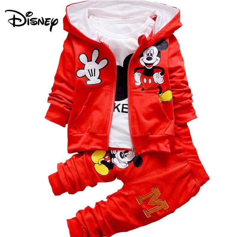 Disney meninos e meninas modelos primavera e outono Mickey terno modelos explosão de algodão dos desenhos animados das crianças três-terno pedaço
