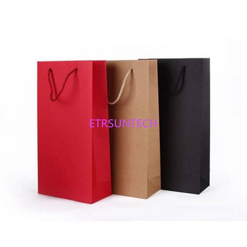 Sacs à vin en papier solide simple ou double   Lot de 100, rouge noir, emballage en papier Kraft, porte-bouteille dhuile de Champagne, logo personnalisé