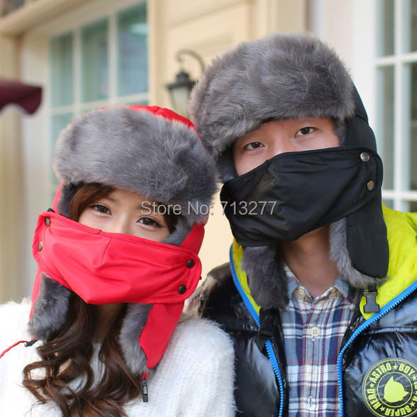 HT351 Women Men Winter Mask Trapper Hat Thick Fur Cap Earflap Warm Multifunction Bomber Hat Solid Pl