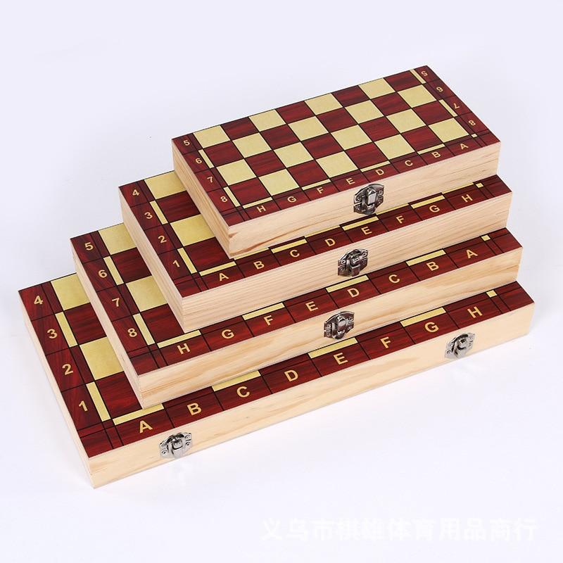 Xadrez internacional damas 3-em-1 jogo de tabuleiro conjunto de xadrez de madeira dobrável