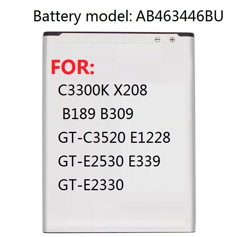 Batería AB463446BU AB463446TU para Samsung S139 M628 X520 F258 E878 F299 E1200M SGH-B108 GH-M310 SGH-L258 800mAh