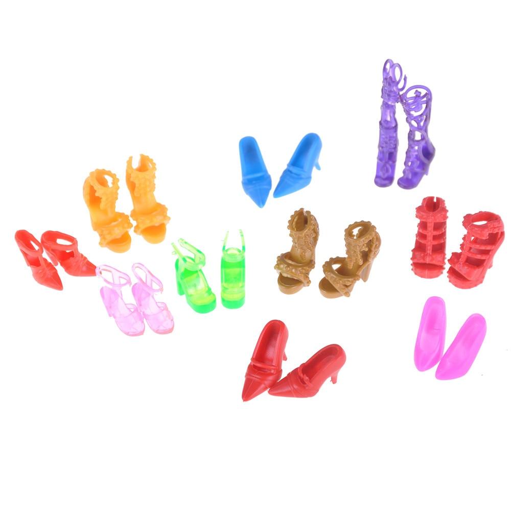 20 unids/lote de zapatos de muñeca de moda de estilo fijo, Sandalias de tacón alto con lazo de vendaje para muñecas Barbie, accesorios de juguete de Color al azar