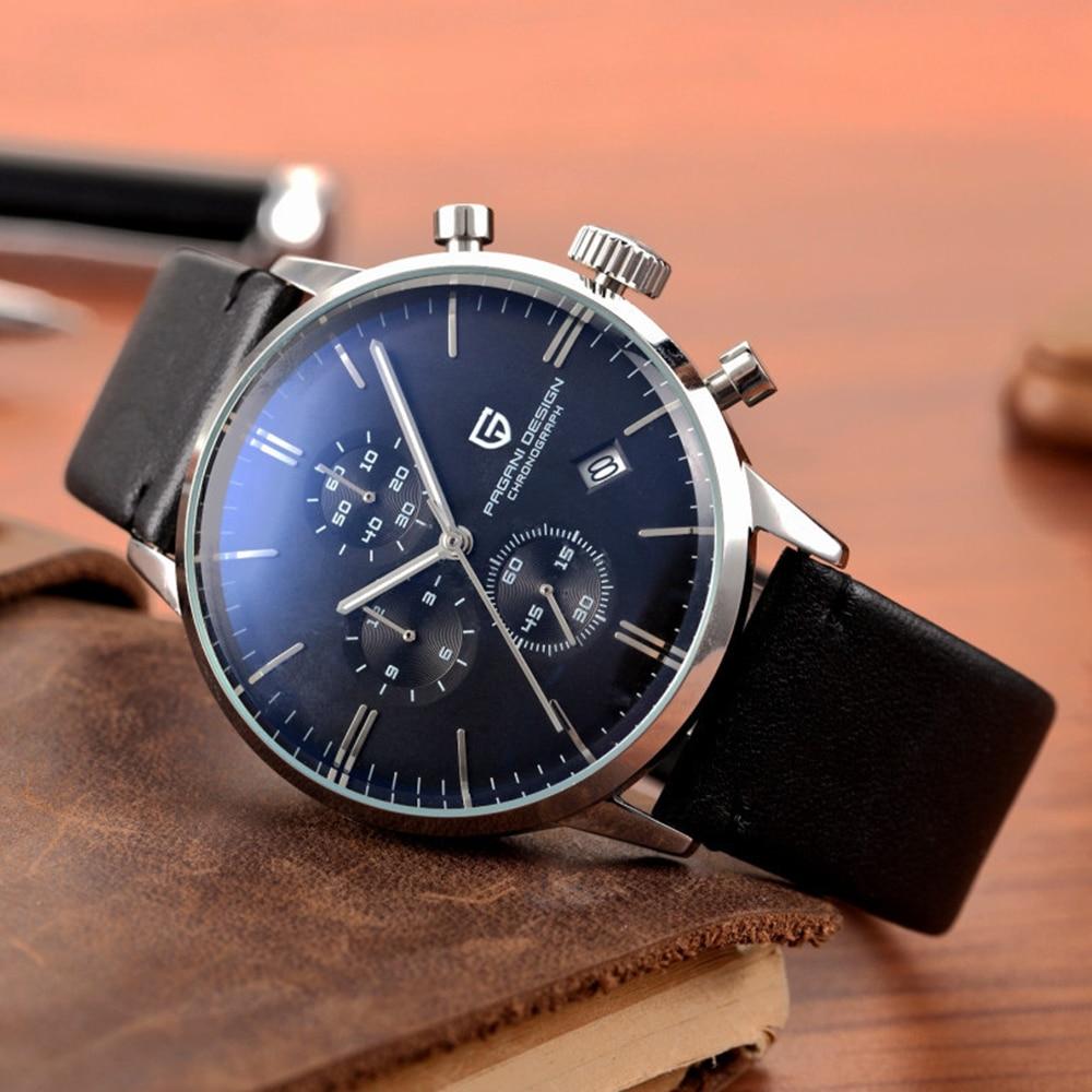 PAGANI تصميم العلامة التجارية الأصلية الرجال الرياضة العسكرية ساعة كوارتز موضة الأعمال كرونوغراف ساعة يد جلدية Relogio Masculino