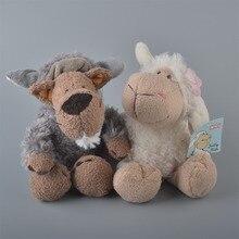 2 pièces 25cm Blanc Moutons Et Loup Gris En Peluche Jouet, Bébé Enfants Poupée Cadeau Livraison Gratuite