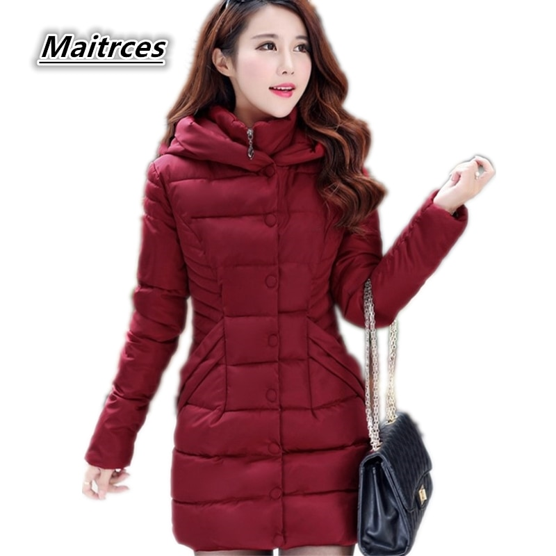 Winter Down Jacket Women Thick Cotton Parka Ladies Slim Warm Jacket 2018 NEW  Fashion Large Size Female Hooded Coats MF002