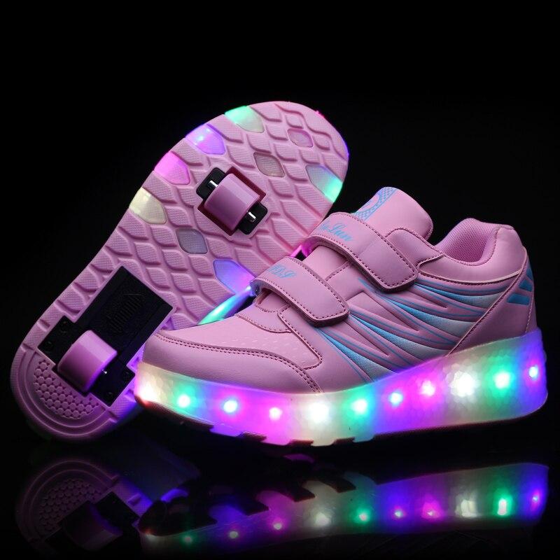 Baskets lumineuses à deux roues pour enfants   Baskets roses à roulettes, chaussures de Skate, pour garçons et filles, chaussures légères unisexe