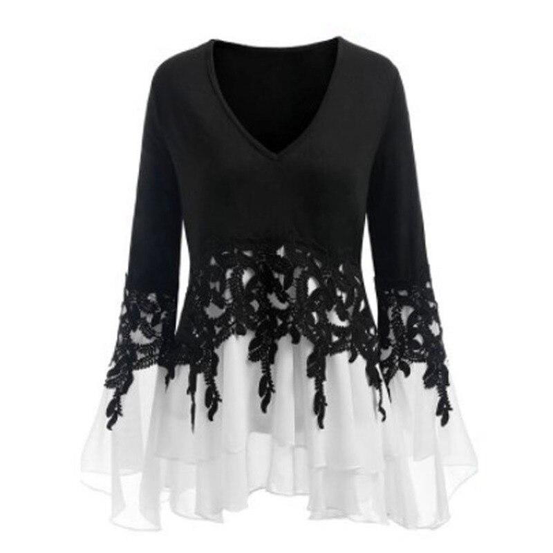 Lace Stitching Irregular Lace Tassel Long Sleeve Chiffon Shirts Women Plus Size White Blouse Womens Tops and Blouses Blusas 5XL