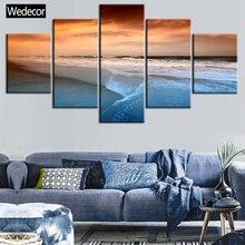 5 أجزاء HD المناظر البحرية شاطئ الغروب البحر موجات C قماش يطبع 4 المشارك جدار الفن 3 قماش اللوحة لغرفة المعيشة غرفة W812-1