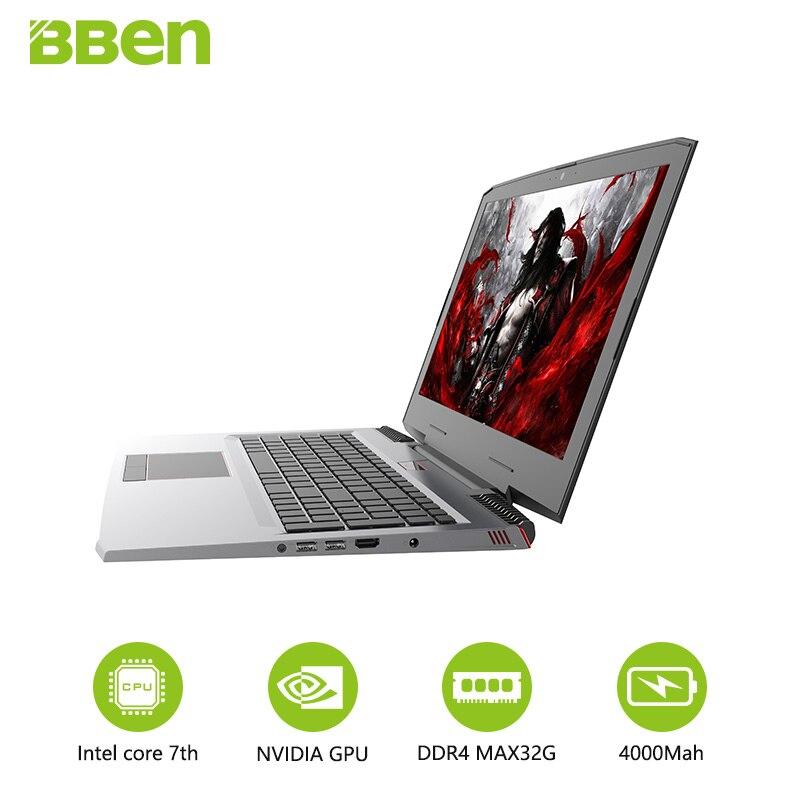 BBen laptop G16 notebook DDR4 16GB+256GB M.2 SSD+1TB HDD Intel i7-7700hq  quad cores NVIDIA GTX1060 windows10 wifi