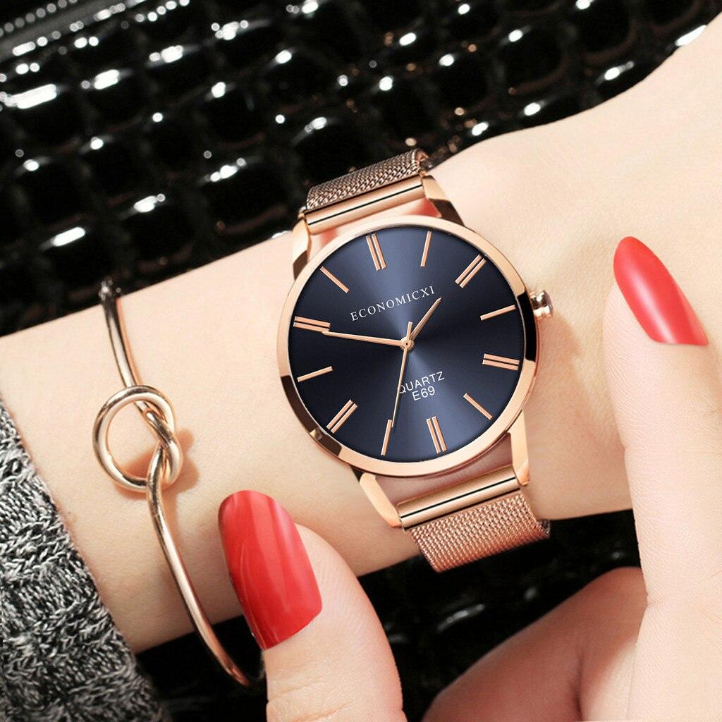 Relojes de vestir para mujer, reloj de moda, pulsera de acero inoxidable, reloj de pulsera de cuarzo informal, reloj de pulsera de regalo, reloj femenino