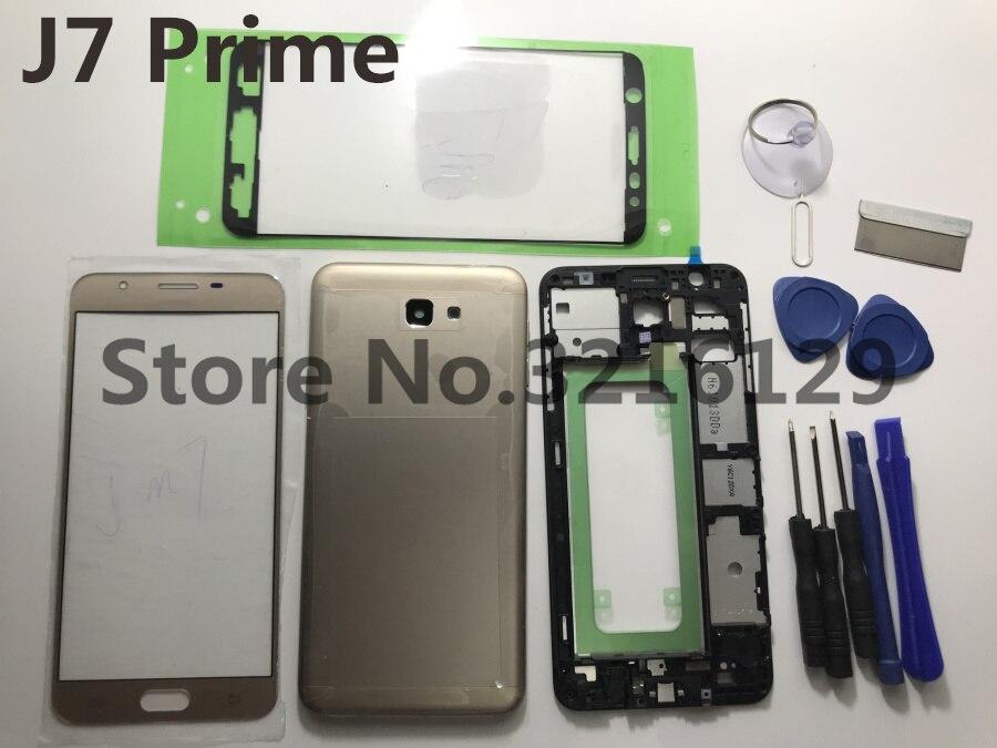 Cubierta de cobertura completa para puerta de batería de Marco medio + panel de cristal LCD + pegatina para Samsung Galaxy J7 Prime ON7 2016 G6100 G610F