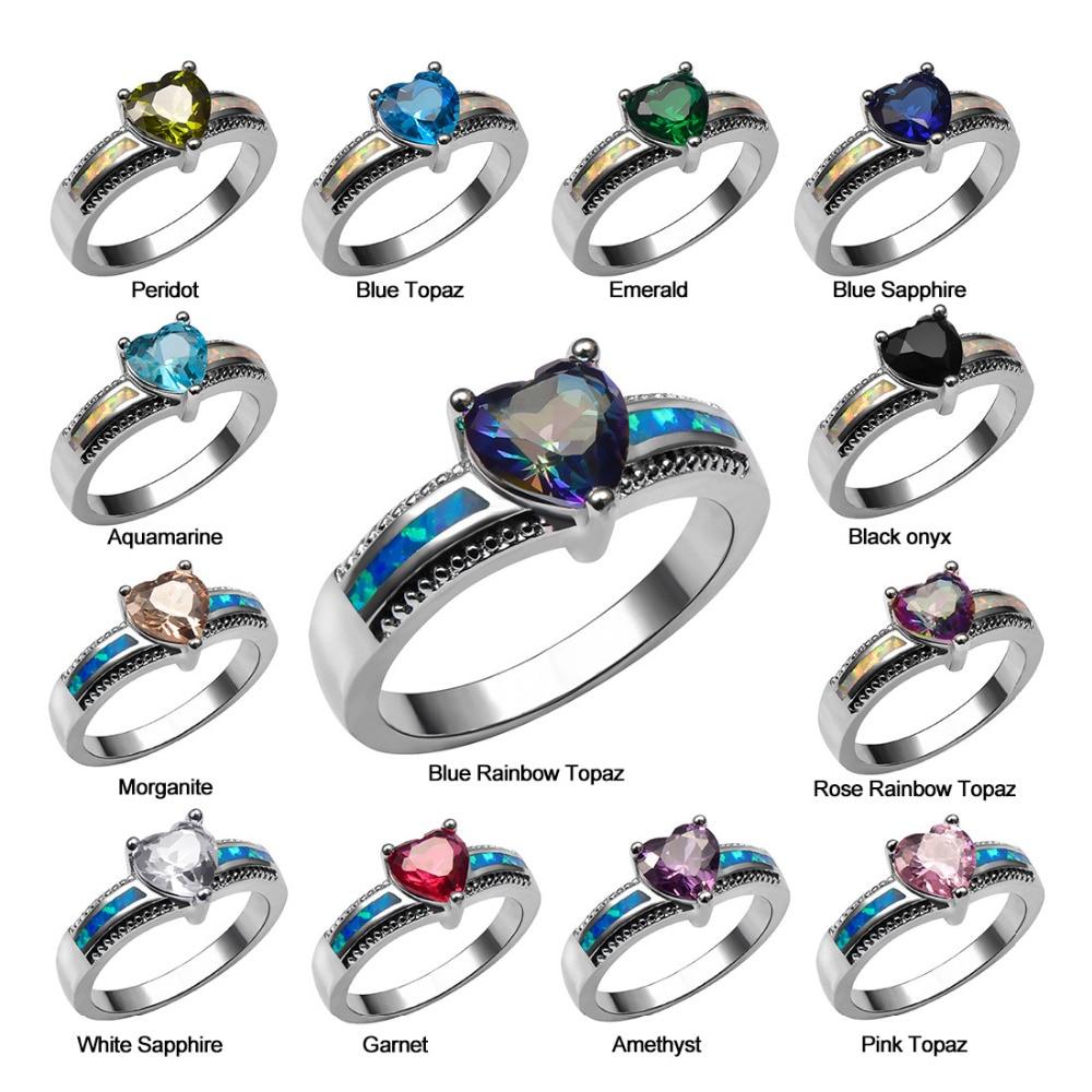White Light Blue Crystal Zircon Garnet Morganite Black onyx Opal Ring 925 Sterling Silver Ring Size 6 7 8 9 10