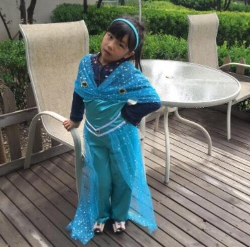 halloween 110-150 cm princess jasmine costume Aladdin's Princess cosplay party game role costume kid girl  Belly dance dress