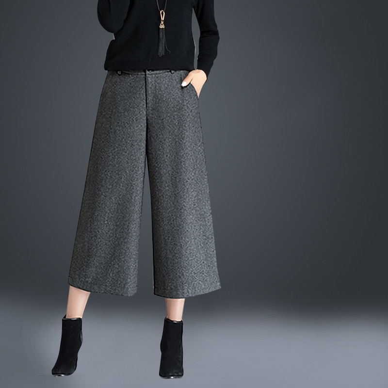 2020 Autumn and Winter Wool High Waist Women's Pants Wool Wide Leg Pants Straight Pants Women's Cropped Pants Suit velvet cropped hoodie and pants twinset