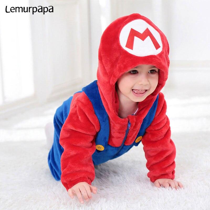 Mario traje de Luigi mameluco para bebé niña linda Onesie suave invierno cálido traje de ropa de gemelos Brother Anime divertido traje con capucha
