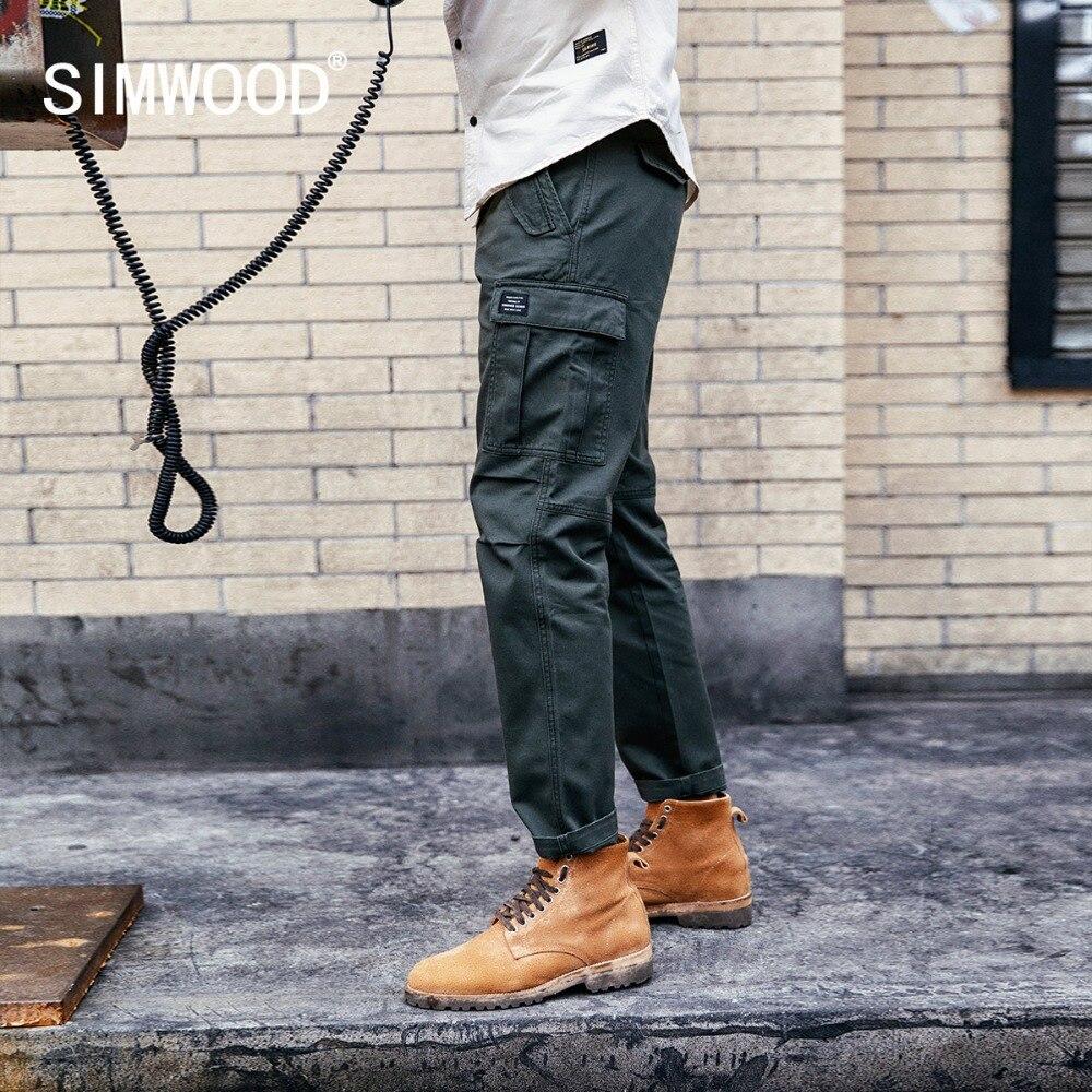 SIMWOOD, novedad de 2020, pantalones informales a la moda para hombre, pantalones Cargo de pista, pantalones militares hasta el tobillo, pantalones de primavera para hombre, 180614