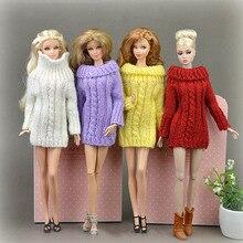Pure manuel poupée accessoires tricoté à la main pull hauts manteau robe vêtements pour Barbie poupée cadeaux pour filles enfants jouet