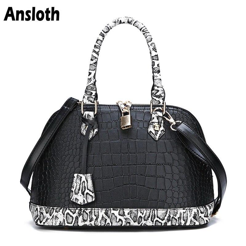 Ansloth Brand Designer Women Handbags Crocodile Pattern Women Bag Luxury Top-Handle Bag PU Leather Shoulder Bag Snake Bag HPS360