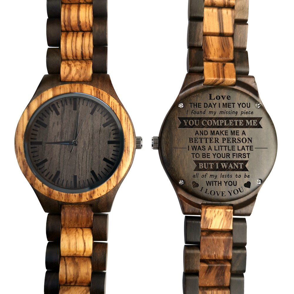 the old mahogany wood wooden stick slip crutches leading the elderly birthday gift cane wooden crutch To My Love-You Are The Missing Piece Engraved Wooden Watch Fashion Casual Sports Wood watches Birthday Anniversary Gifts