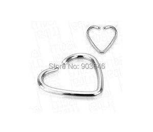 100pcs/lot Free Shipping  Silver Stainless Steel Punk Open Hoop Heart Shape Nose Ring Earring Body Piercing