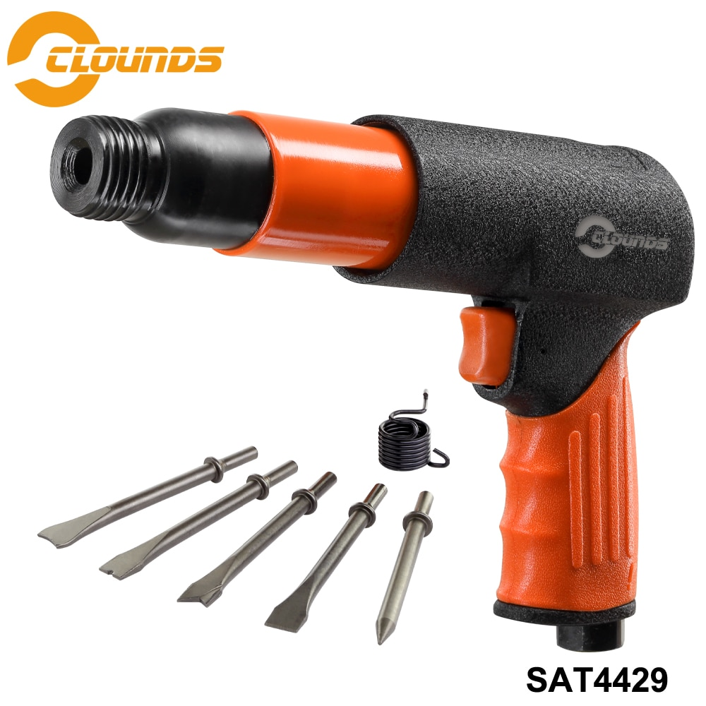 SAT4429 Professional Handheld Pistol Gas Shovels Air Hammer Remover Pneumatic Tools 5 Chisels Air Hammer