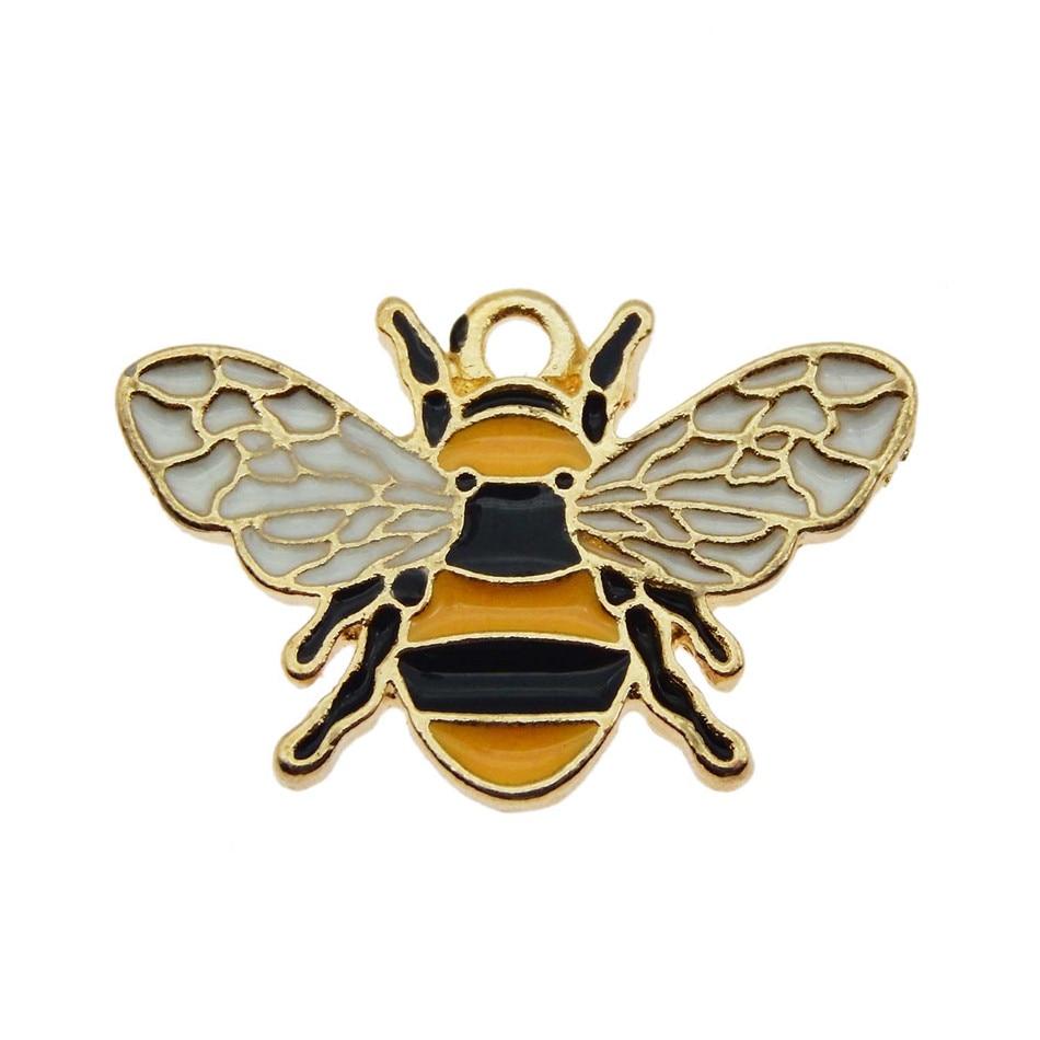 Wholesale 10PCS Colorful Enamel Honeybee Shiny Acrylic Rhinestone CZ Decored Bee Pendant Charm DIY Women Earring Jewelry Finding