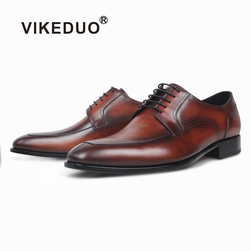 VIKEDUO أنيق فستان رسمي أحذية للرجال جلد طبيعي اليدوية ديربي أحذية الزفاف مكتب براون أحذية مان الأحذية Zapatos