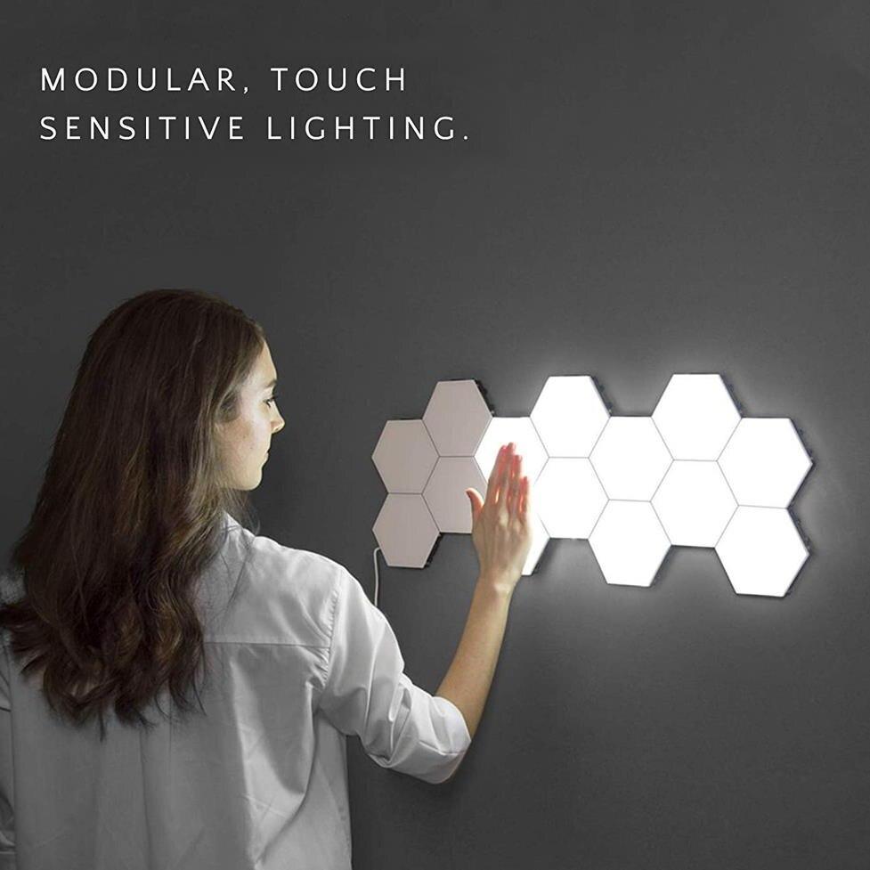 Lámpara cuántica led lámparas hexagonales modular iluminación sensible al tacto luz nocturna Hexagonal magnético decoración creativa lampara de pared