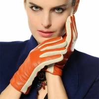 2018 two tone female glove with long fleece lining womens lambskin genuine leather gloves special offer free shipping l131nc