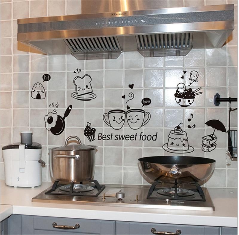 Pegatinas de pared para cocina, café, comida dulce, DIY, arte de pared, calcomanía, decoración, papel tapiz de comedor, calcomanías de pared de PVC